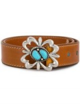ALANUI embellished buckle belt | brown leather and turquoise stone belts
