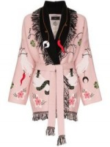 ALANUI fringed embroidered wool cotton blend cardigan in pink