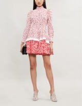 ALEXANDER MCQUEEN Contrast-floral pattern cotton-poplin dress white / red. MIXED FLOWER PRINTS
