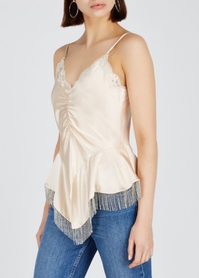 ALEXANDER WANG Almond chain-embellished silk top ~ luxe camisole