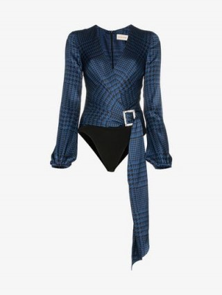 Alexandre Vauthier V-Neck Diamanté Clasp All-In-One in Blue and Black ~ luxe bodysuits