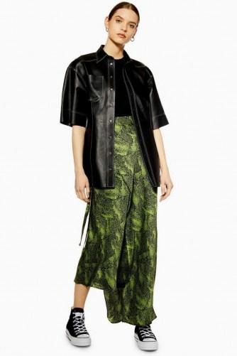 Topshop Boutique Alligator Bias Skirt in Green   long asymmetric skirts - flipped