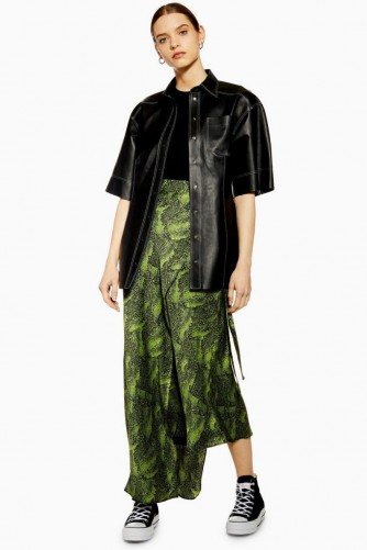Topshop Boutique Alligator Bias Skirt in Green | long asymmetric skirts