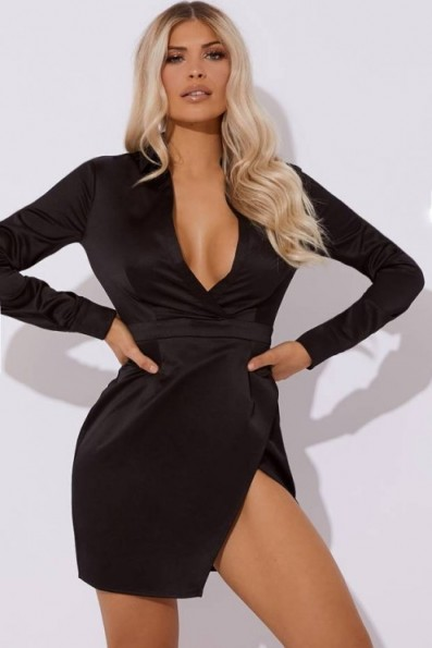 IN THE STYLE ANAFAA BLACK SATIN SPLIT FRONT MINI DRESS ~ plunging going out fashion