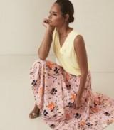 REISS ANDI FLORAL PLEATED MIDI SKIRT PINK ~ feminine style skirts
