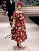 DOLCE & GABBANA Anenome-print ruffle cotton midi dress ~ red and white floral summer dresses