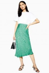 Topshop Animal Jacquard Bias Midi Skirt in Green
