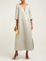 MARTA FERRI Animal-jacquard midi dress in pale-gold ~ elegant event wear