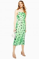Topshop Apple Bias Slip Dress | green floral cami dresses
