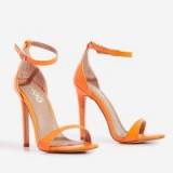 EGO Archer Barely There Heel In Neon Orange Patent ~ bright stilettos