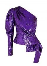 16 ARLINGTON Purple one-shoulder sequin top ~ event glamour