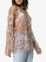 ASHISH sequin embellished top in Nude. SHEER BLOUSE