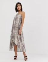 ASOS DESIGN satin bandeau maxi dress in snake print – strapless evening dresses