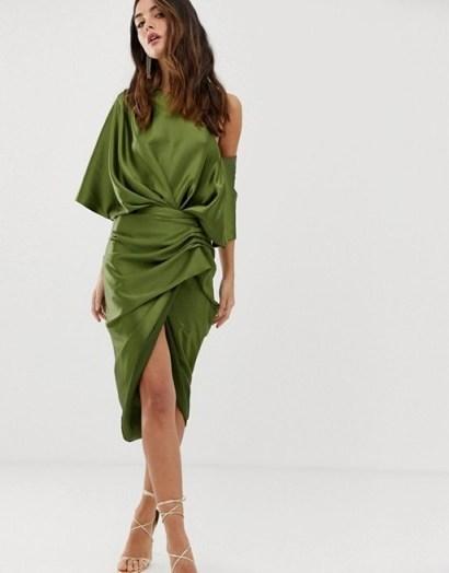 ASOS EDITION drape asymmetric midi dress in satin olive green - flipped