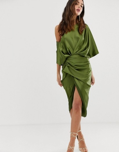 ASOS EDITION drape asymmetric midi dress in satin olive green