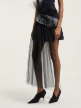 GERMANIER Asymmetric gathered tulle and twill mini skirt in black ~ crystal embellished skirts