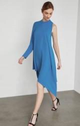 BCBGMAXAZRIA Asymmetrical Mock Neck Dress in French Blue ~ chic event wear ~ one sleeve dresses