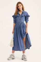 FREE PEOPLE Montana Sunset Midi Dress in Indigo | blue chambray prairie dresses