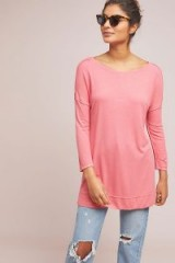 Bordeaux – Claremont Ribbed Tunic Top in Coral | casual longline tee