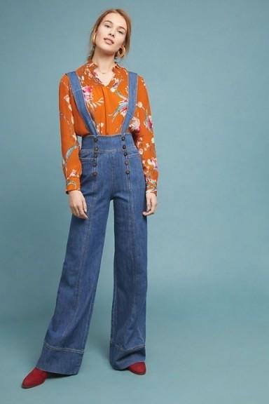 Pilcro Bibbed Denim Jumpsuit | casual retro fashion