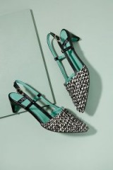 LAB Delores Woven-Leather Heels in Black and White | monochrome slingbacks