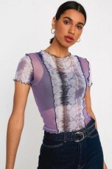 UO Snake Print Panelled Mesh Short-Sleeve Top in Lilac