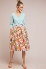 Maeve Pixilated Tulle Midi Skirt in Peach