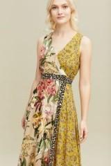 Kachel Sofia Mix-Print Wrap Dress. MIXED FLOWER PRINTS