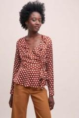 Second Female Paulette Spot-Print Wrap Blouse in Brown Motif ~ ruffle trimmed neckline