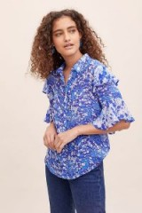 Lily & Lionel Forget Me Not Ruffled-Printed Blouse in Blue ~ floral prints