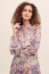 Lily & Lionel Forget Me Not Rina Printed Top ~ feminine ruffled trims