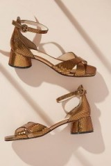 Elvio Zanon Piper Snake-Effect Leather Heels in Bronze ~ metallic block heel sandals ~ shoes at Anthropologie