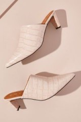 Chio Snake-Effect Leather Mules in Pink ~ luxe style pointed toe slip-ons