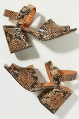 Chio Snake-Effect Leather Block Heels in Brown ~ chunky retro sandals