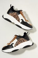 Just Female Leopard Print-Trimmed Leather Trainers in Black and White ~ brown trim chunky sole sneakers