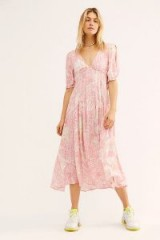 FREE PEOPLE Forever Always Midi Dress in Pink Combo | floaty frock | deep V-neckline