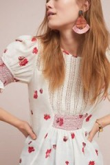 Ranna Gill Rai Smocked Floral Top in White | smock detail blouse