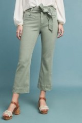 Anthropologie High-Rise Cropped Flared Jeans in Moss | light-green denim