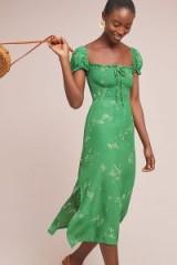 Faithfull the Brand Betsy Floral-Print Midi Dress in Green Motif | smocked dresses
