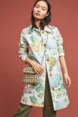 ANTHROPOLOGIE Mellie Hydrangea Raincoat – pretty floral mac for spring