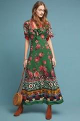 Farm Rio Bolero Maxi Dress in Green Motif. MIXED FLORALS & GEO PRINTS