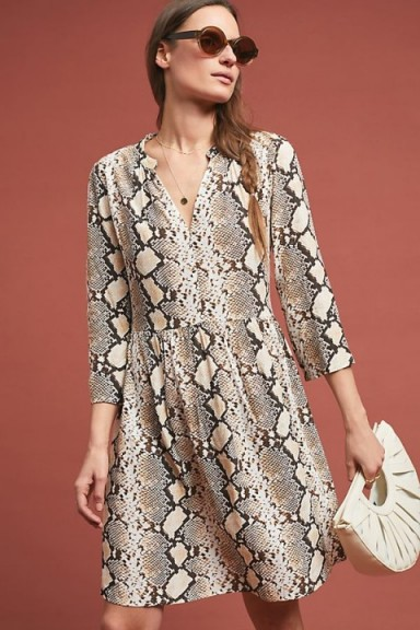 Maeve Juno Printed Dress in Beige. SNAKE PRINT FASHION