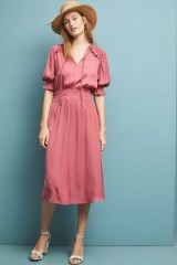 Current Air Cape May Midi Dress in Pink ~ smocked detail clothing