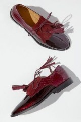 Rogue Matilda Anissa Textured Patent-Leather Brogues in Wine ~ glossy deep-red flats