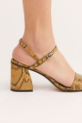 Free People FP Collection Liv Block Heel Tan Snake