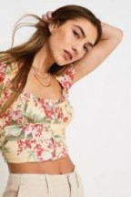 UO Amour Floral Cap Sleeve Cropped Top Yellow Multi / boho crop tops