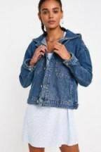 BDG Vintage Wash Hooded Western Denim Jacket in Light Blue – dropped shoulder relaxed fit