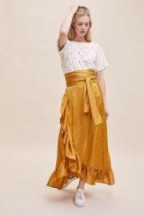 Lolly's Laundry Amby Ruffled-Wrap Skirt in Maize | ruffle trimmed summer skirts