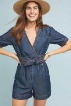 Pilcro Belted Denim Playsuit | blue wrap style playsuits