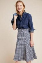 Seen Worn Kept Belted Gingham Midi Skirt in Blue Motif | flared A-line skirts